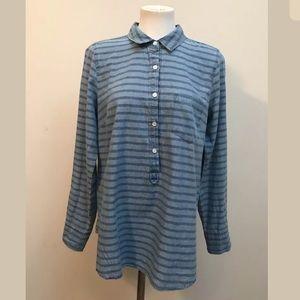 J.Crew Denim Stripe Shirt Blouse Long Sleeve